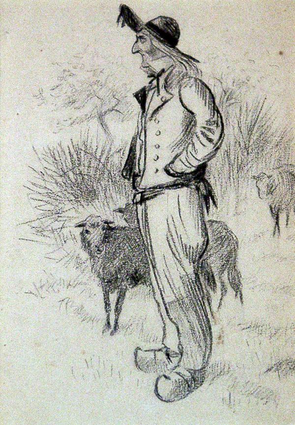Caldecott, Randolph Breton Shepherd with Sheep