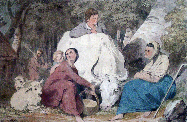 Cristall, Joshua (attributed to) Pastoral Family with White Cow