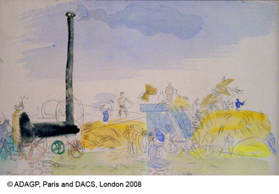 Dufy, Raoul Harvest Scene with Steam Threshing Machine