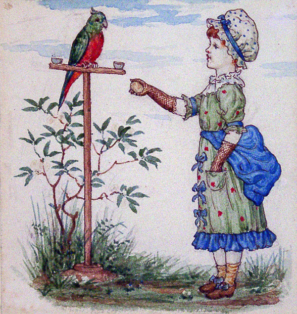 Greenaway, Kate (attributed to) Child with Parrot