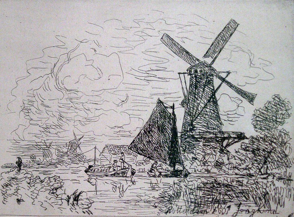Jongkind, Johan Barthold Moulins en Hollande (Windmills in Holland)