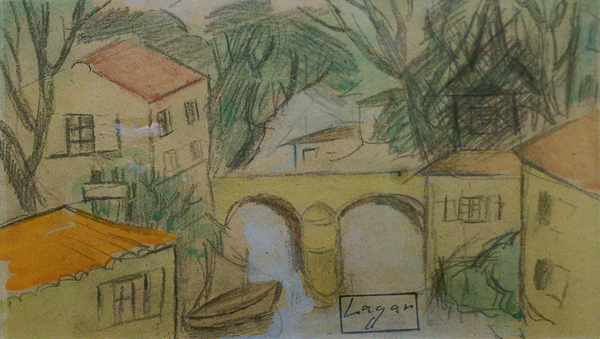 Lagar, Celso River Scene with Bridge