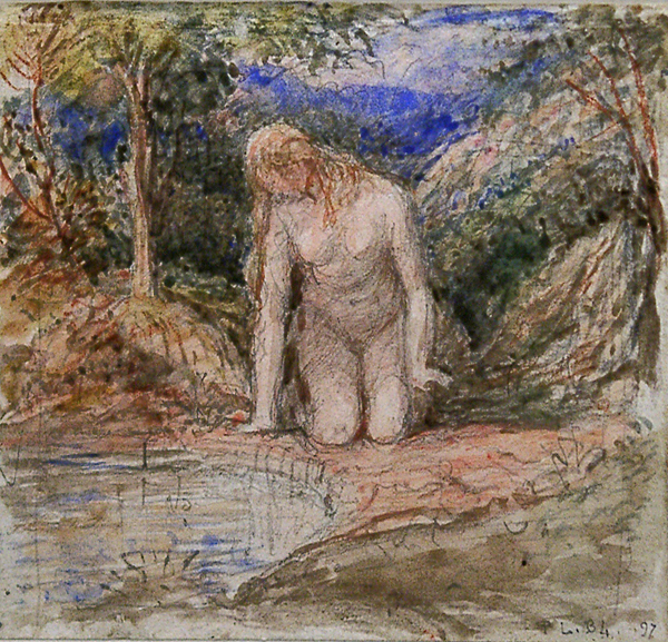 Linnell, John (circle of) Nude Girl by a Pool