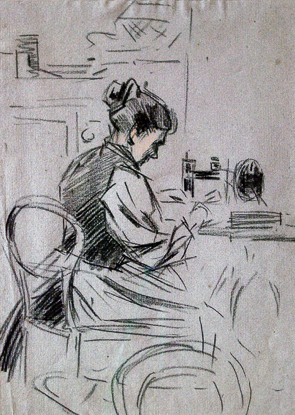Livens, Horace Mann Woman at Sewing Machine
