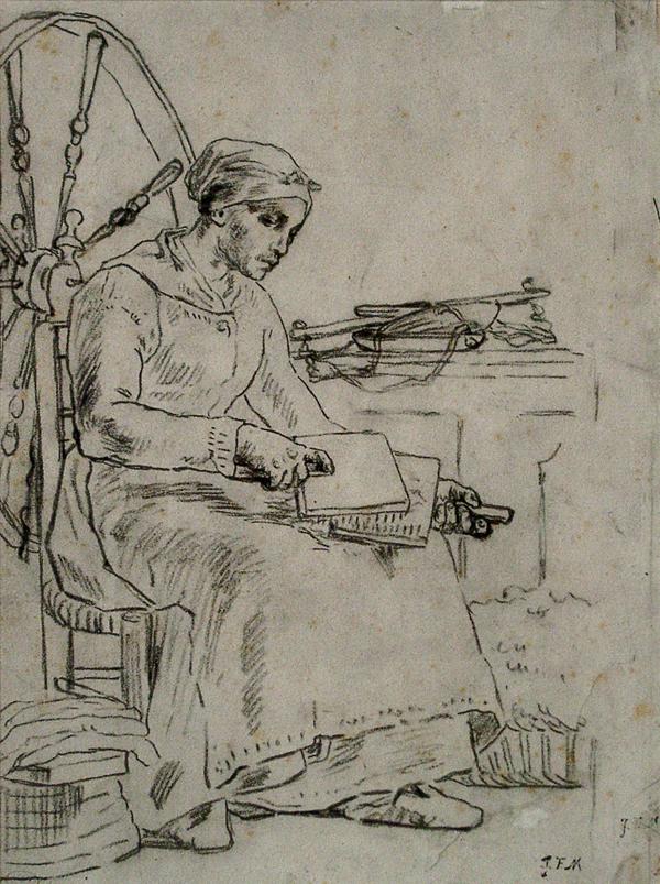 Millet, Jean-Francois La Cardeuse (Woman Carding Wool)