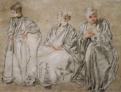 Watteau, Jean-Antoine (follower of) Studies of Women in Three Positions