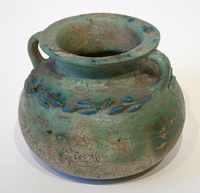 Unknown Egyptian Green Glazed Pottery Twin-Handled Jar