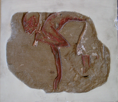 Unknown Egyptian Sandstone Relief with a Stooping Male Figure