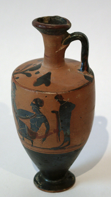 Unknown Attic Black Figure Lekythos Decorated with Warriors in Combat