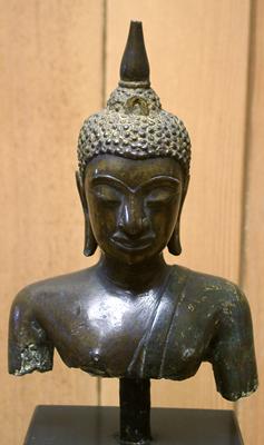 Unknown Siamese Bronze Bust of a Youthful Buddha