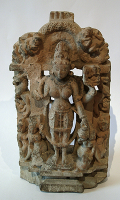 Unknown Standing Female Hindu Deity with Attendants (Parvati)