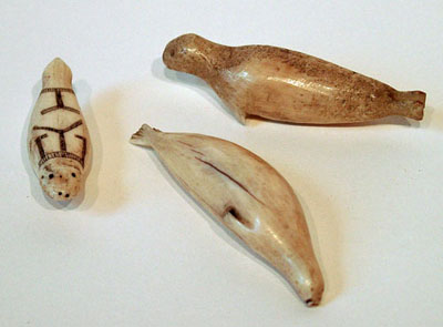 Unknown Three Inuit Walrus Ivory Figures of Seals
