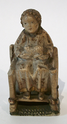 Unknown Spanish Alabaster Seated Figure of Christ Holding a Lamb