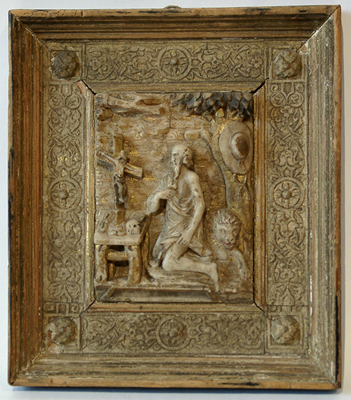 Unknown Malines Alabaster Bas Relief of St. Jerome in the Wilderness