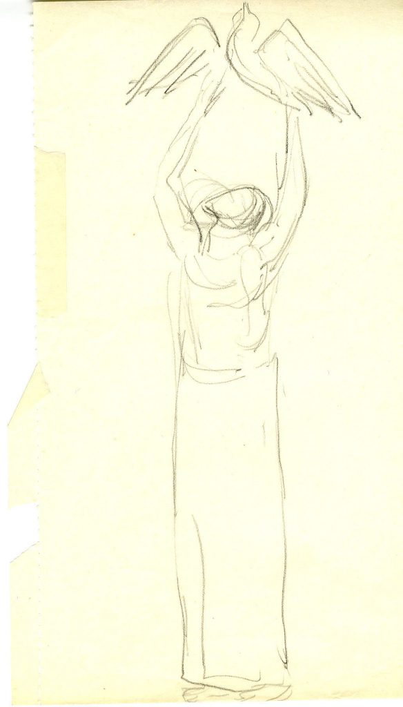 Epstein, Sir Jacob Sketch of a Robed Figure with Bird