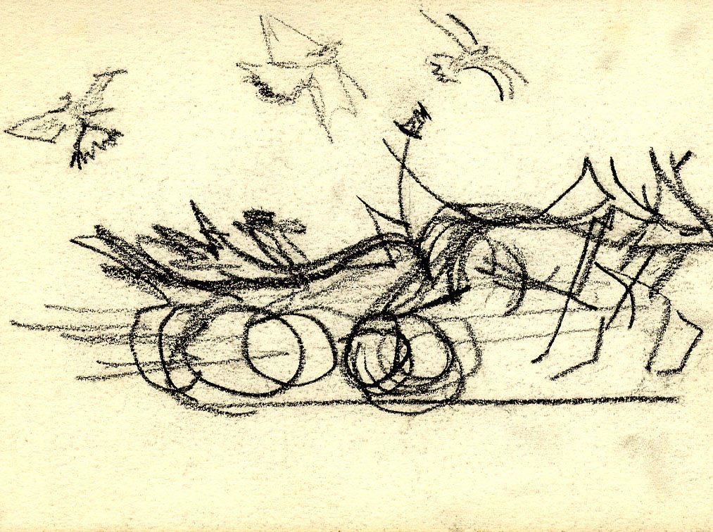 Unknown Sketch of Horses and Carriage