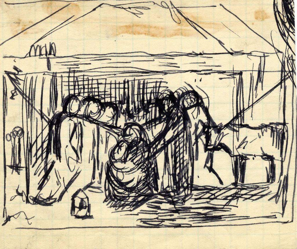 Unknown Sketch of Nativity Scene