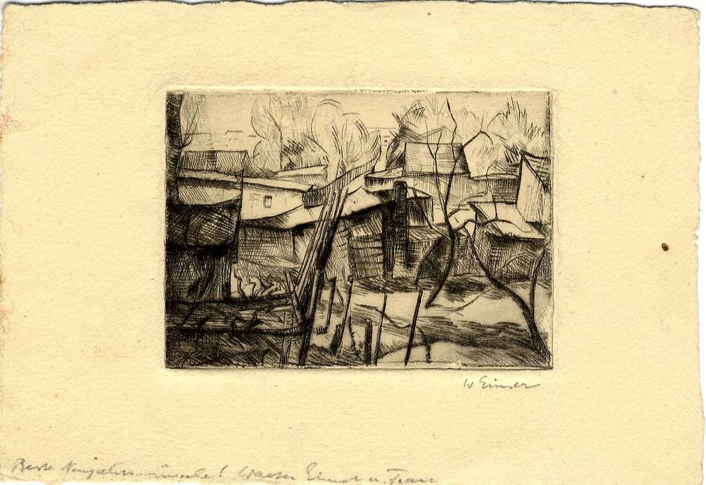 Unknown Sketch of Buildings and Trees