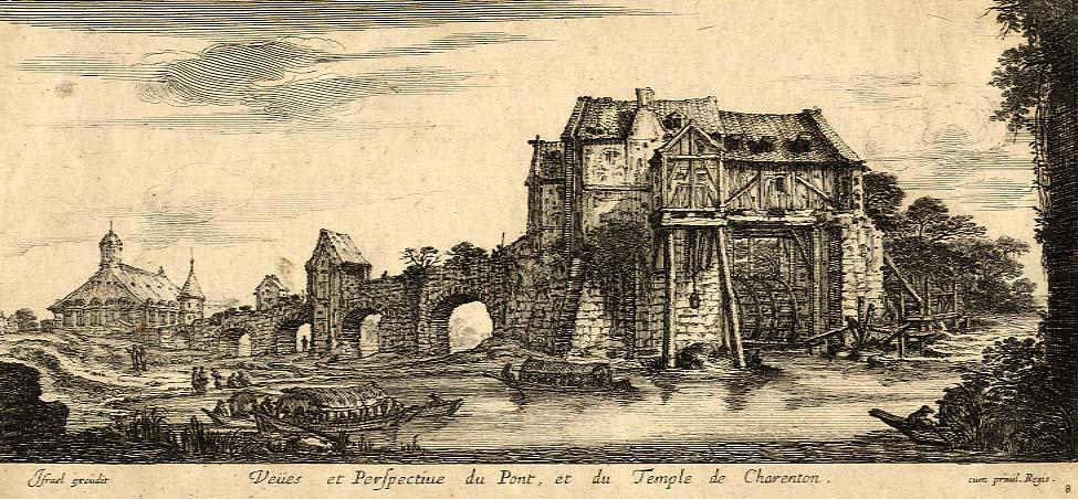 Unknown Veiies et Perfpectine du Pont, et du Temple de Charenton
