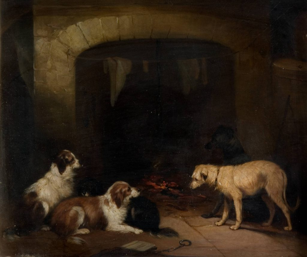 Unknown Painting of 4 dogs