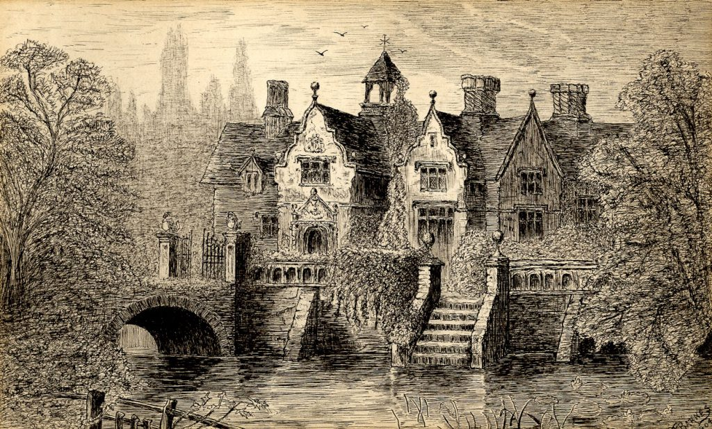 Barnes, F Title, 16th Century Mansion (Dutch Gables, Twisted Chimneys), River and Bridge