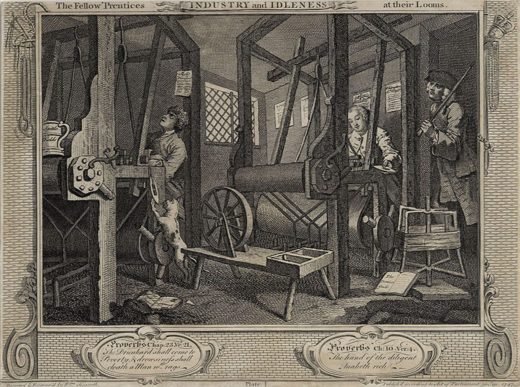 Hogarth, William The Fellow 'Prentices Plate 1  Industry and Idleness at their looms
