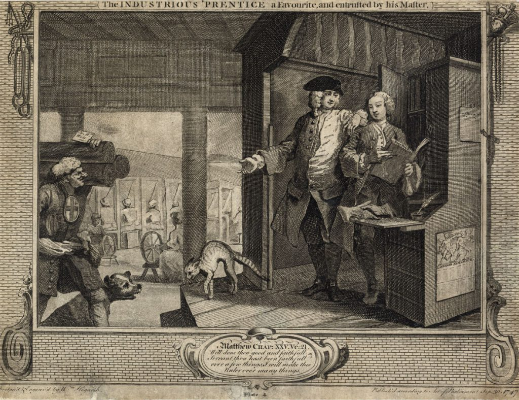 Hogarth, William The Fellow 'Prentices Plate 4  The Industriouos 'Prentice a favourite and entrusted by his master