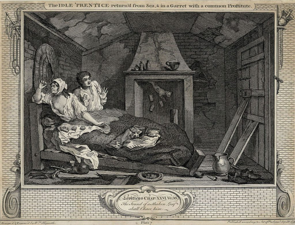 Hogarth, William The Fellow 'Prentices; Plate 7  The Idle 'Prentices returned from sea andin a garret with a common prostitute