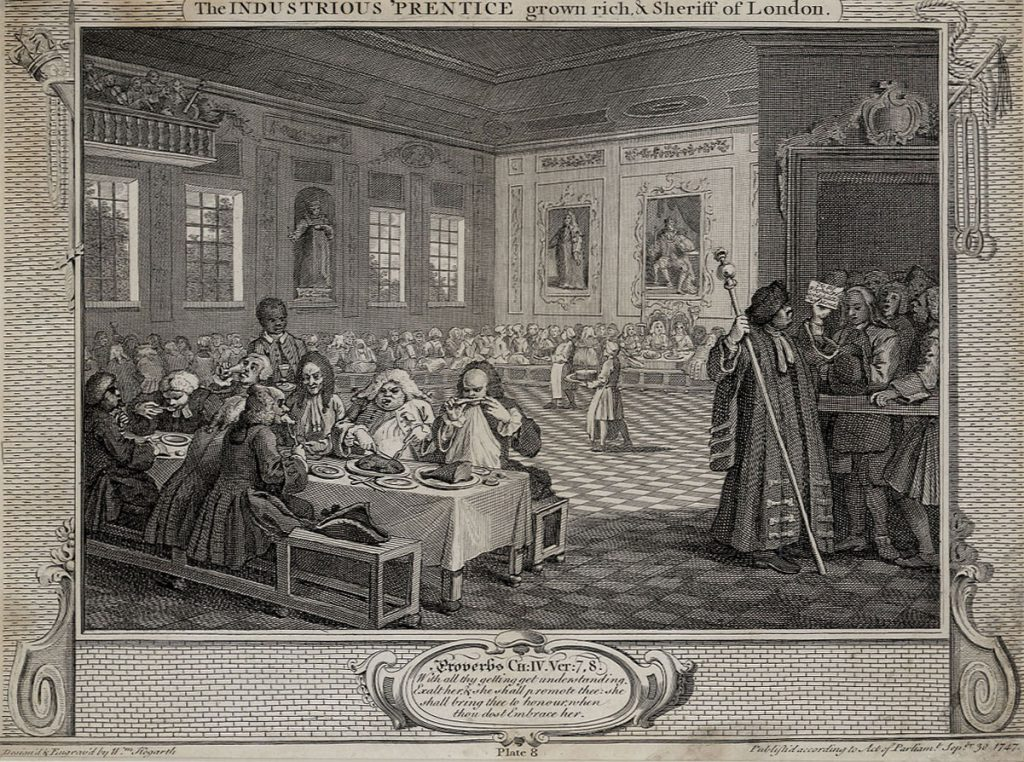 Hogarth, William The Fellow 'Prentices; Plate 8  The Industrious 'Prentice grown rich and Sheriff of London