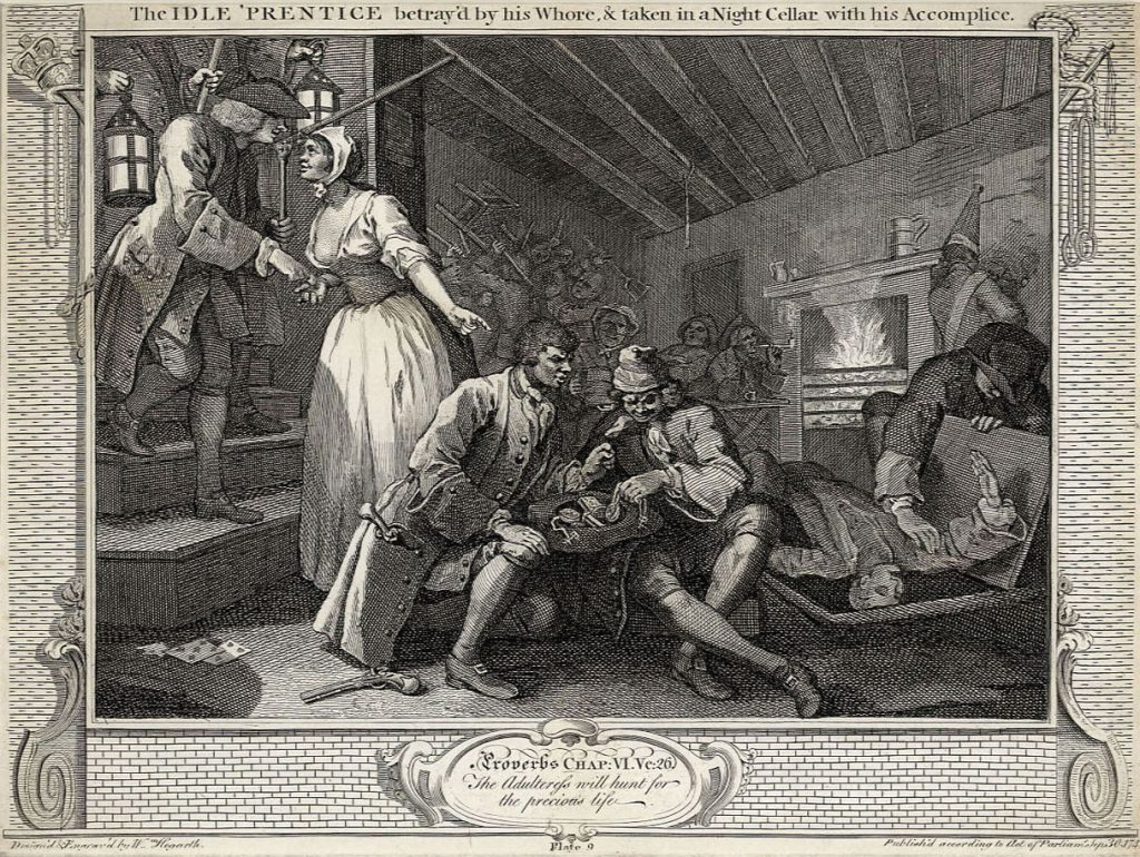 Hogarth, William The Fellow 'Prentices Plate 9  The Idle 'Prentice betrayed by his whore and taken in a night cellar with his accomplice