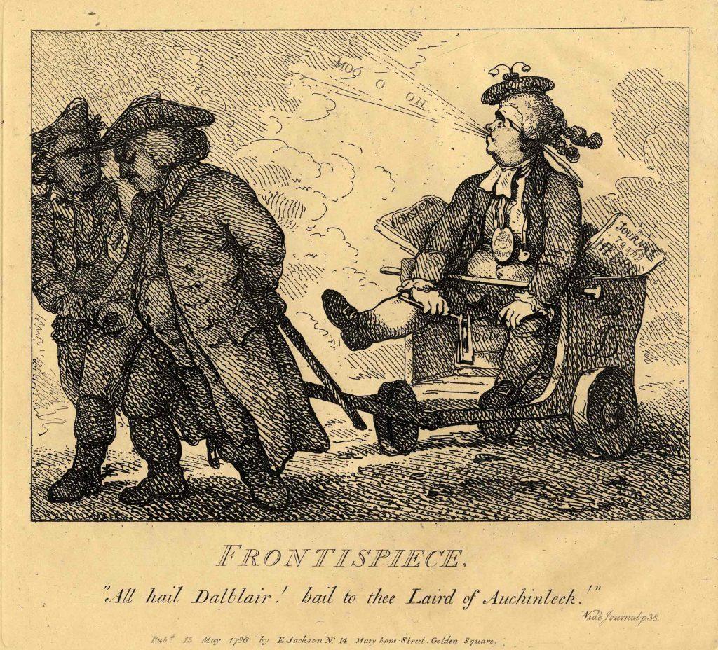 "Rowlandson, Thomas Frontispiece: ""All hail Dalblair! hail to thee Laird of Auchinleck!"""