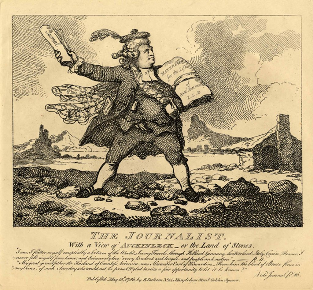 Rowlandson, Thomas The Journalist: with a view of Auckinleck, or the Land of Stones