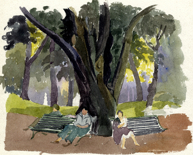 Flint, E. M. Untitled (Park Benches)