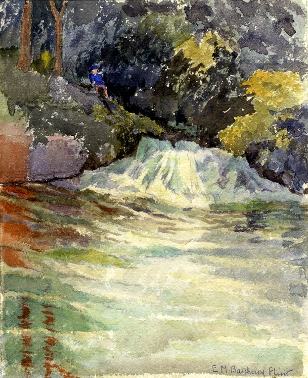 Flint, E. M. Untitled (Sitting by the Waterfall)