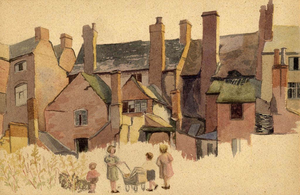 Orgill, Mollie Back of Houses with Children and Pram