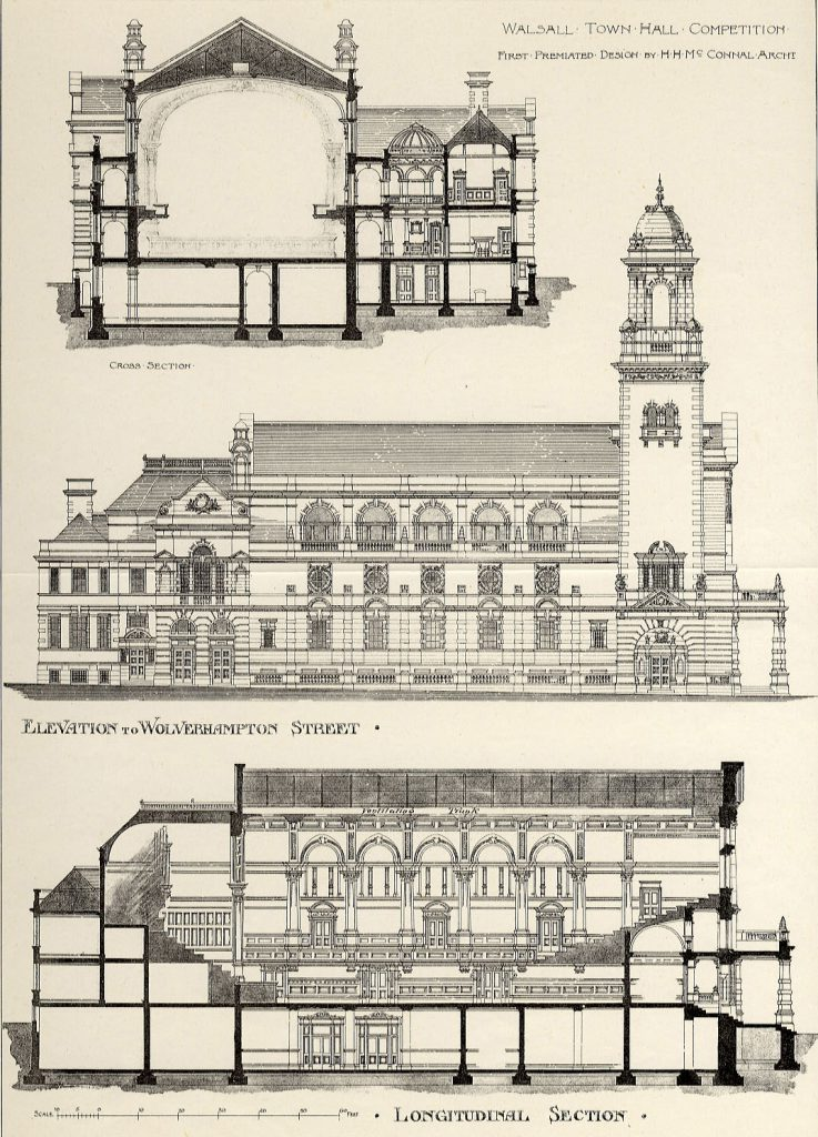 McConnal, H.H. Walsall Town Hall Competition. First Premiated Design