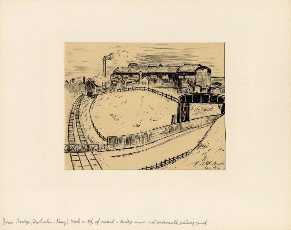 Arnold, Harry Reginald James Bridge, Darlaston. Keay's Work on top of Mound – Bridge across road underneath railway round