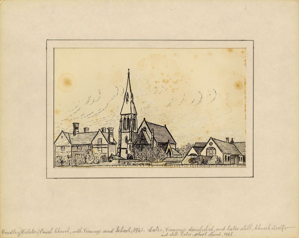 Arnold, Harry Reginald Bradley (Bilston) Parish Church with Vicarage and School, 1941
