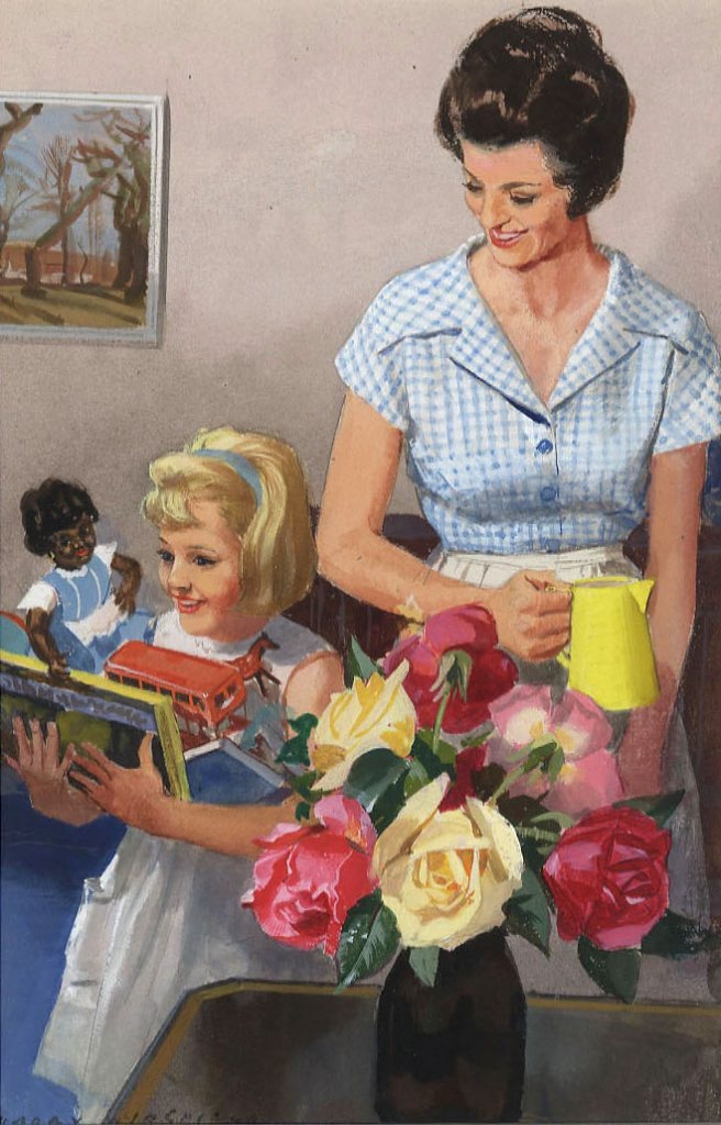 Wingfield, Harry 'Jane helps mother in the home', Illustration for 'Things We Do', Ladybird Key Words Reading Scheme