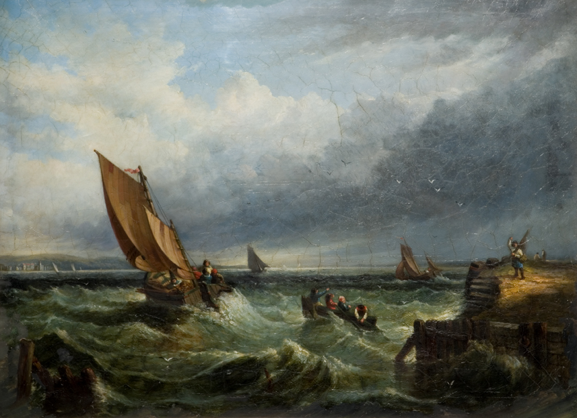 Unknown Seascape with Fishing Boats in a Stormy Sea