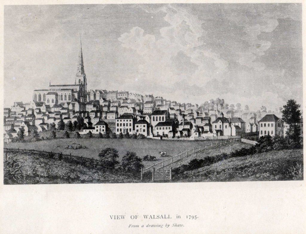 Shaw, S. (after) View of Walsall in 1795 from a drawing by Shaw