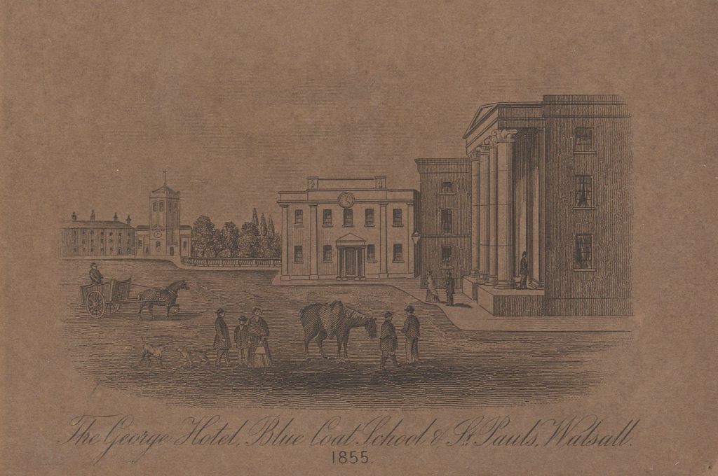 Unknown George Hotel, Bluecoat School and St Paul's Walsall 1855