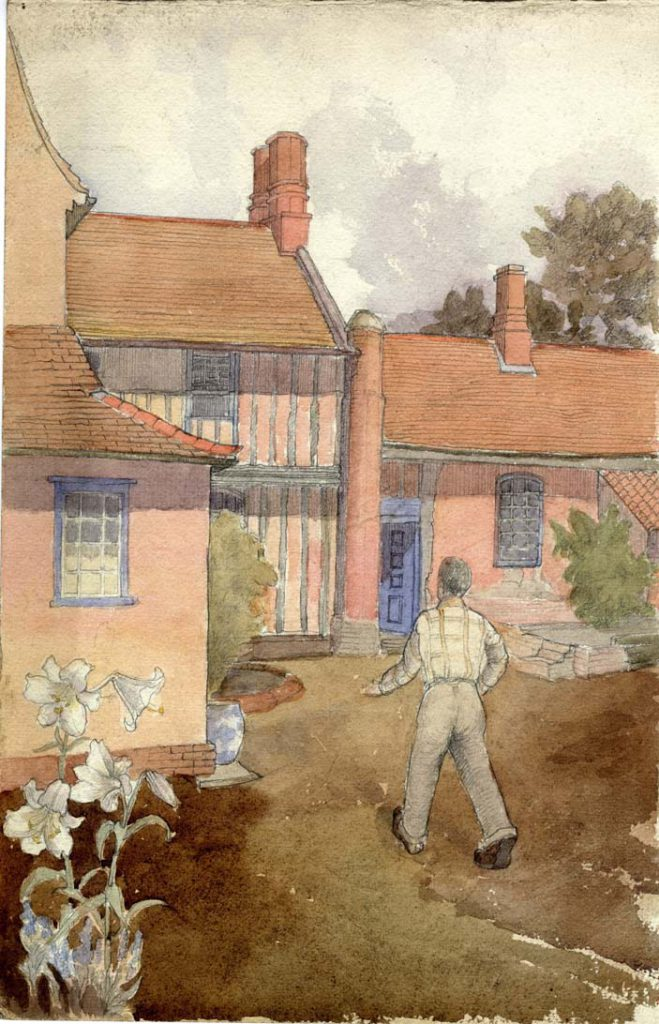 Flint, E. M. Untitled (Walking by the Cottage)