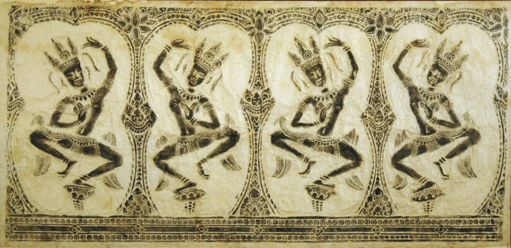 Unknown Stone Rubbing from the temples at Angkor, Cambodia