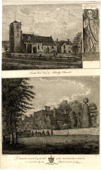 Shaw, S. Two Engravings on one Page 1) South West View of Aldridge Church, Monument of Robert Stapleton 2) Old House at Barr